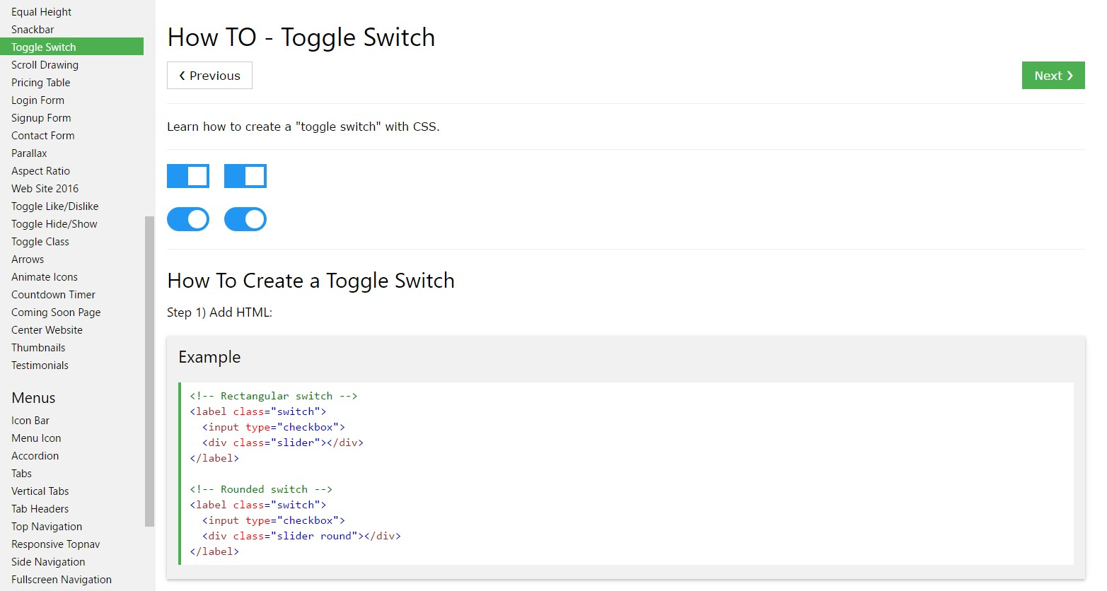 How to  provide Toggle Switch