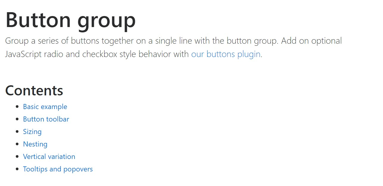 Bootstrap button group  main  information
