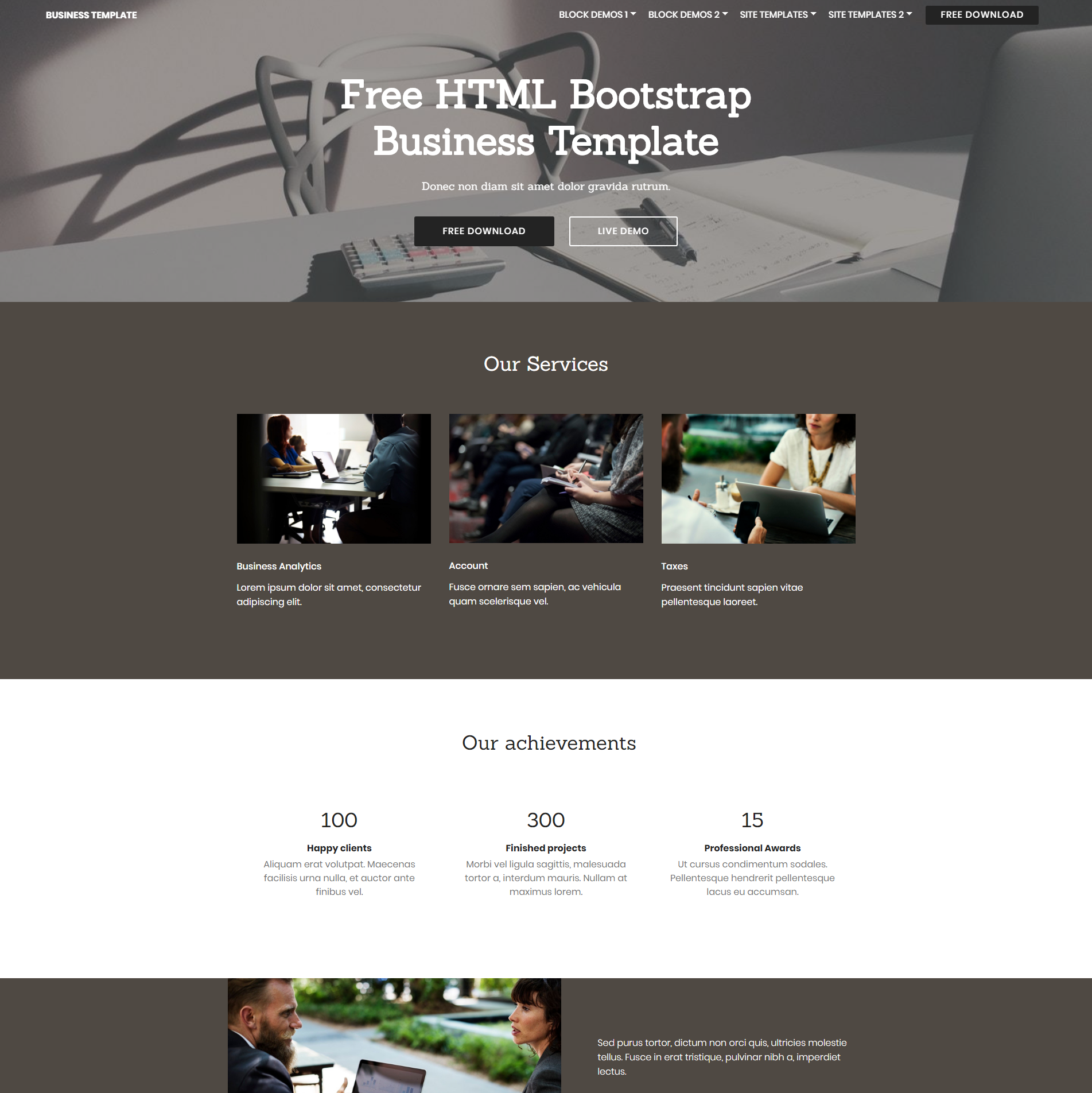 Free Bootstrap Busines Themes